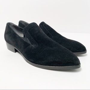 Marc Fisher Black Velvet Pointed Loafers